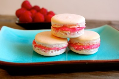 raspberry macarons for Passover