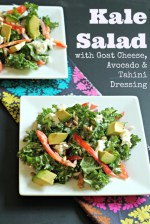 Kale Salad with Avocado, Goat Cheese and Tahini Dressing