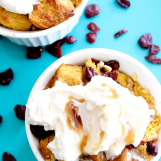 Pumpkin Challah Bread Pudding for Two