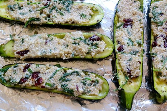 cranberry quinoa stuffed zucchini