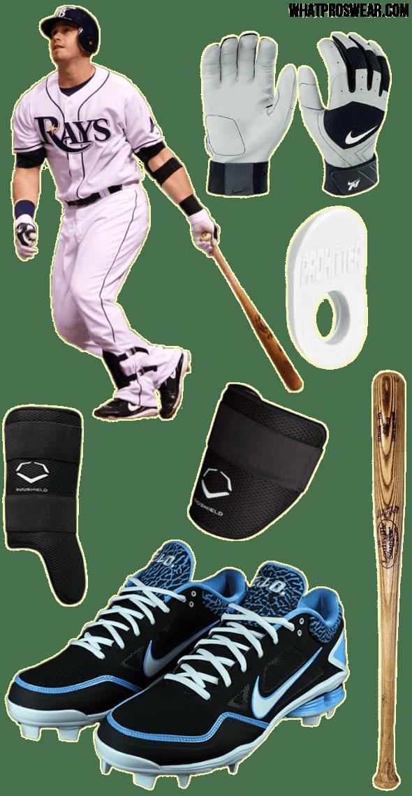 evan longoria bat, longoria batting gloves, cleats, thumb guard, evo shield elbow guard, shin guard, pro hitter thumb guard, nike fuse n1, nike shox fuse, louisville slugger I13