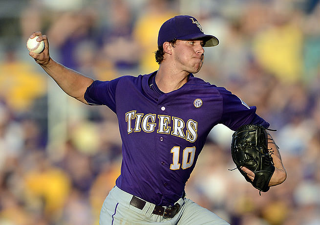 LSU ace Aaron Nola's blacked out Wilson Two-Piece. Source: Bill Feig/AP