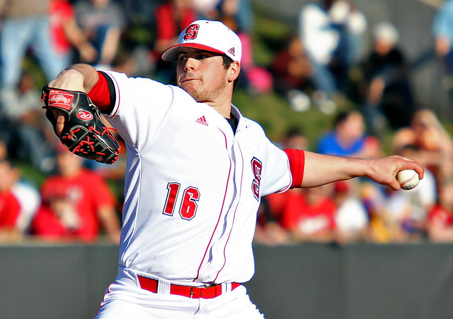 The Nation's K-leader Carlos Rodon wearing a Rawlings Two Piece. Source: Baseball America.