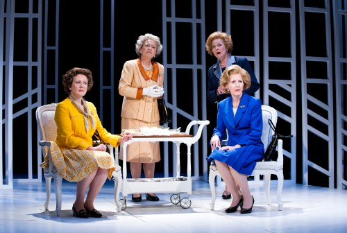 Handbagged at Vaudeville Lucy Robinson as Liz, Marian Bailey as Q, Fenella Woolgar as Mags. and Stella Gonet as T. Photo creditTristram Kenton.