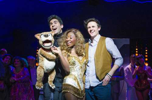 L-R Simon Lipkin (Barlow), Cynthia Erivo (Chenice) and Alan Morrissey (Max) in I Can't Sing! at the London Palldium Photographer Tristram Kenton