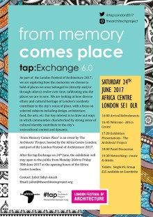 From Memory Comes Place  // tap:Exchange 6.0 London
