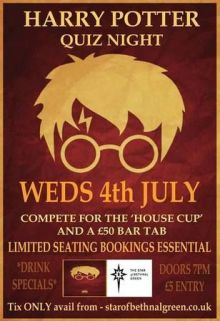 Harry Potter Quiz at The Star of Bethnal Green