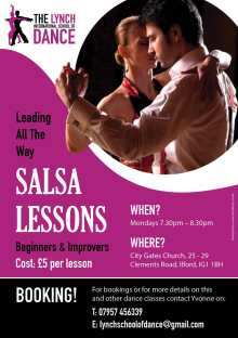 Salsa Lessons for beginners, intermediates, and improvers