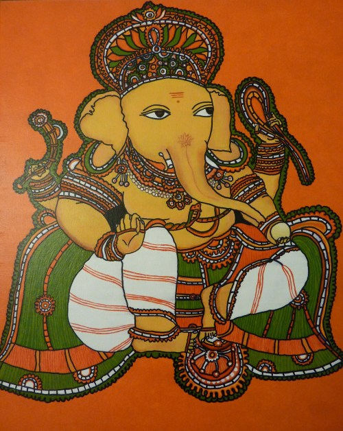 1 2 baby steps in kerala mural painting whats ur for Mural art of ganesha