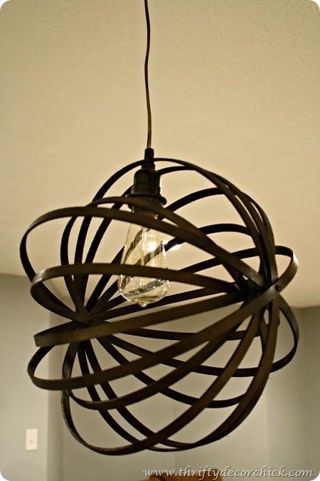 embroidery hoop orb chandelier