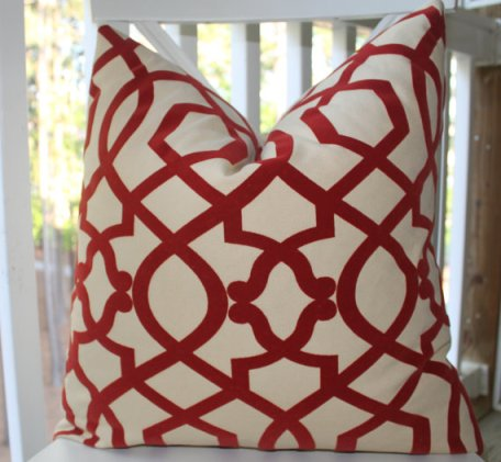 red geometric trellis pillow, Motif pillow giveaway, 6 Month Blog Anniversary