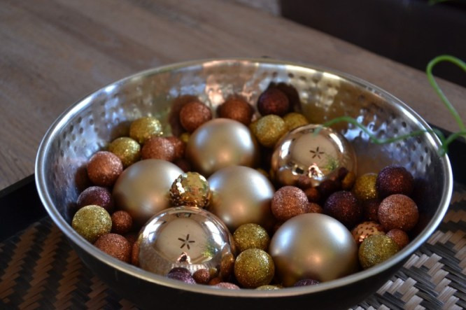 Bowl of Christmas Ornaments