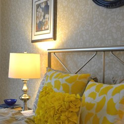 Whats Ur Home Story: Felt Circles Pillow, ginkgo pillows, yellow and beige bedroom, Sherwin Williams Softer Tan