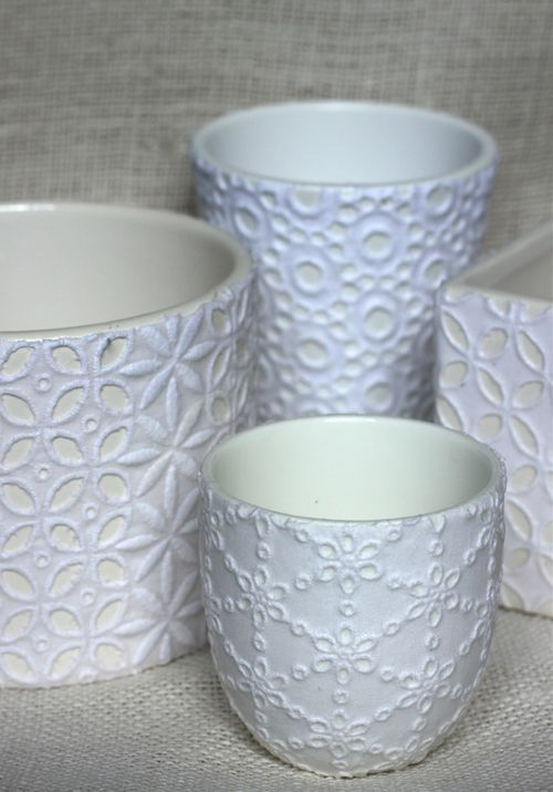 decoupage lace vase