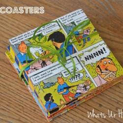 DIY coasters, Cork coasters, vintage comic coasters