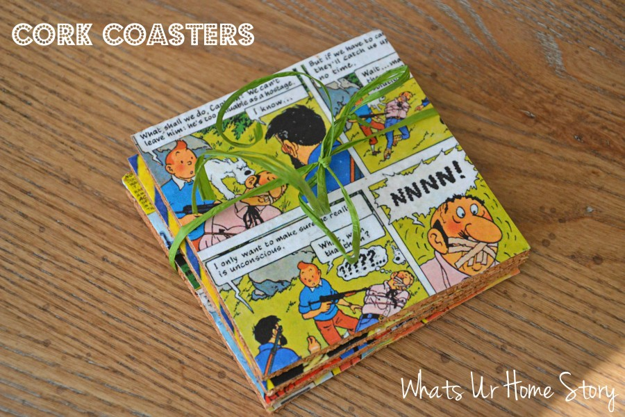 DIY coasters, Cork coasters, vintage comic coasters