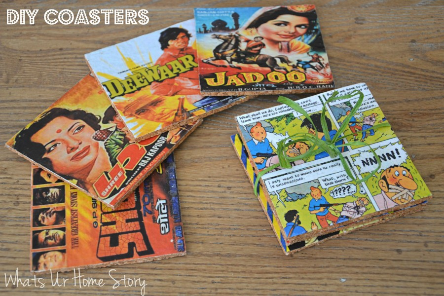 Whats Ur Home Story: DIY coasters, Cork coasters, vintage movie poster coasters, vintage comic coasters, DIY Cork Coasters
