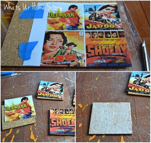 Whats Ur Home Story: DIY coasters, Cork coasters, vintage movie poster coasters, vintage comic coasters