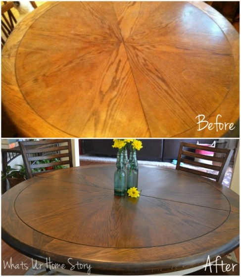 Whats Ur Home Story :How to refinish a stained table top
