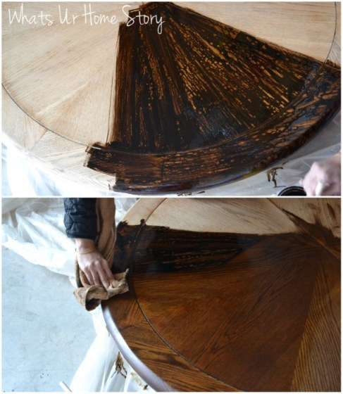 Whats Ur Home Story: How to stain wood furniture, minwax dark walnut stain