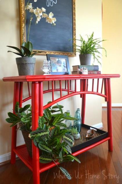 Whats Ur Home Story: Painting Bamboo Furniture, red bamboo table