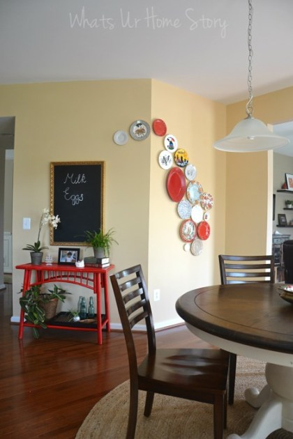 Whats Ur Home Story: Plate wall, diy chalkboard from mirror, Breakfast Nook