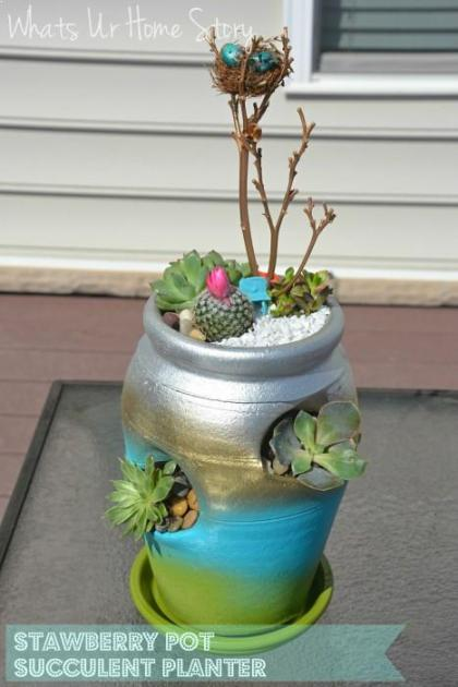 strawberry pot succulent planter, strawberry pot planter, mother's day gift, decorating with succulents, succulent planter