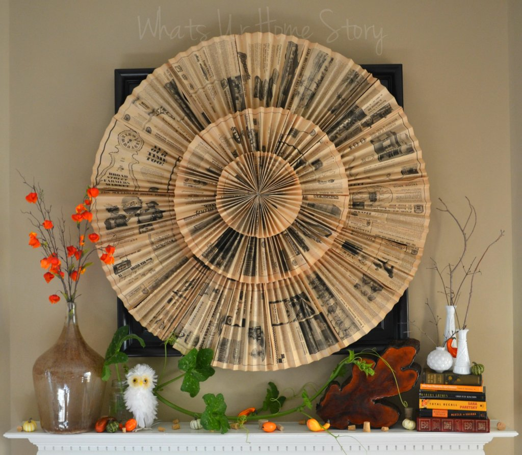Whats Ur Home Story: Nature inspired fall mantel, rustic fall mantel, paper fan medallion wall art