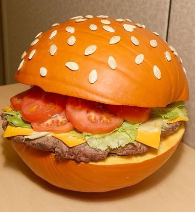 burger pumpkin, Easy DIY Pumpkin Decorating Ideas, unique Pumpkin Decorating Ideas