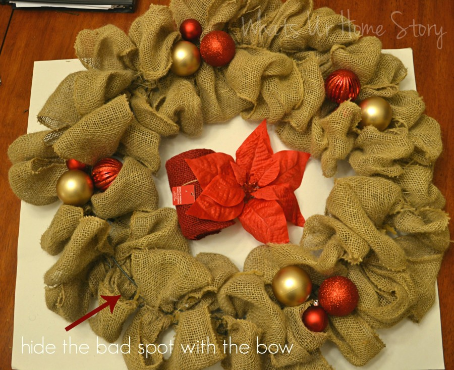 Whats Ur Home Story: Christmas Burlap Wreath diy, DIY burlap wreath, how to make a Christmas burlap wreath