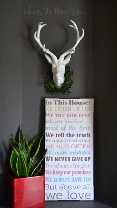 Whats Ur Home Story: Mini Boxwood Wreath, faux deer head, faux taxidermy, ceramic deer head