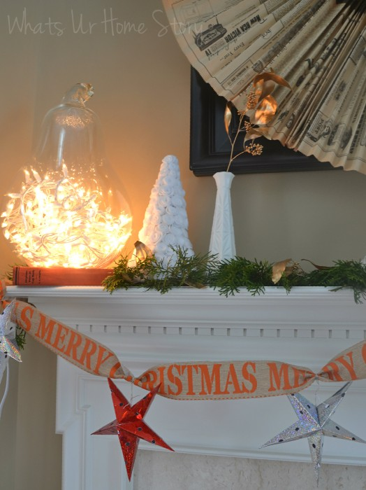 Whats Ur Home Story: Rustic Christmas Mantel, white Christmas mantel, Simple Christmas Mantel, felt rose Christmas tree
