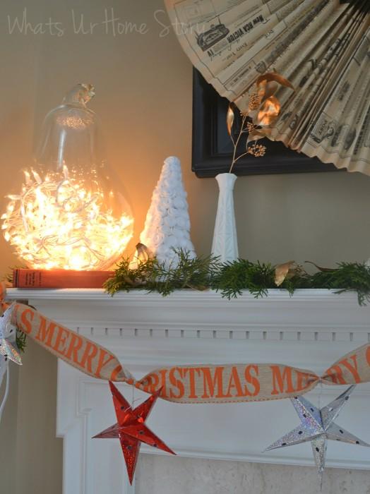 Whats Ur Home Story: Rustic Christmas Mantel, white Christmas mantel, Simple Christmas Mantel, felt rose Christmas tree