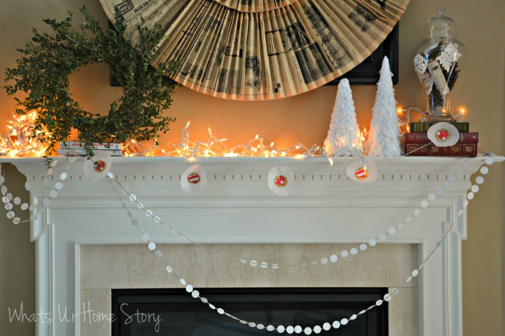 cupcake-liner-garland, Cupcake Liner Valentine Garland, easy garlands, DIY garlands, cupcake liner crafts, winter mantel