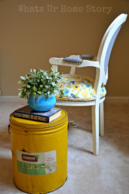 Lard Can Side Table, how to turn a vintage lard can into a side table