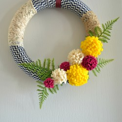 fabric scraps wreath, felt flower wreath, spring wreath