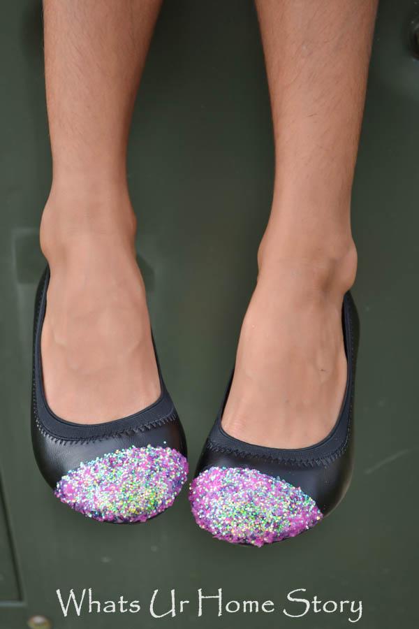 glitter cap toe ballerina flats