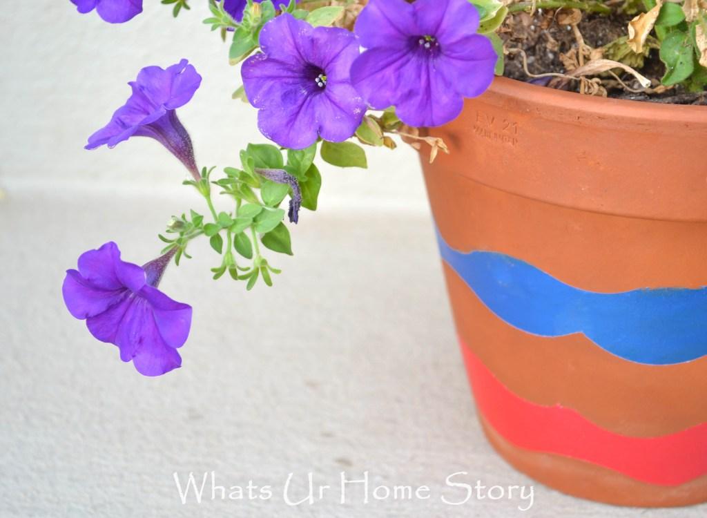 painted wave planter, Patriotic Planter, wave planter