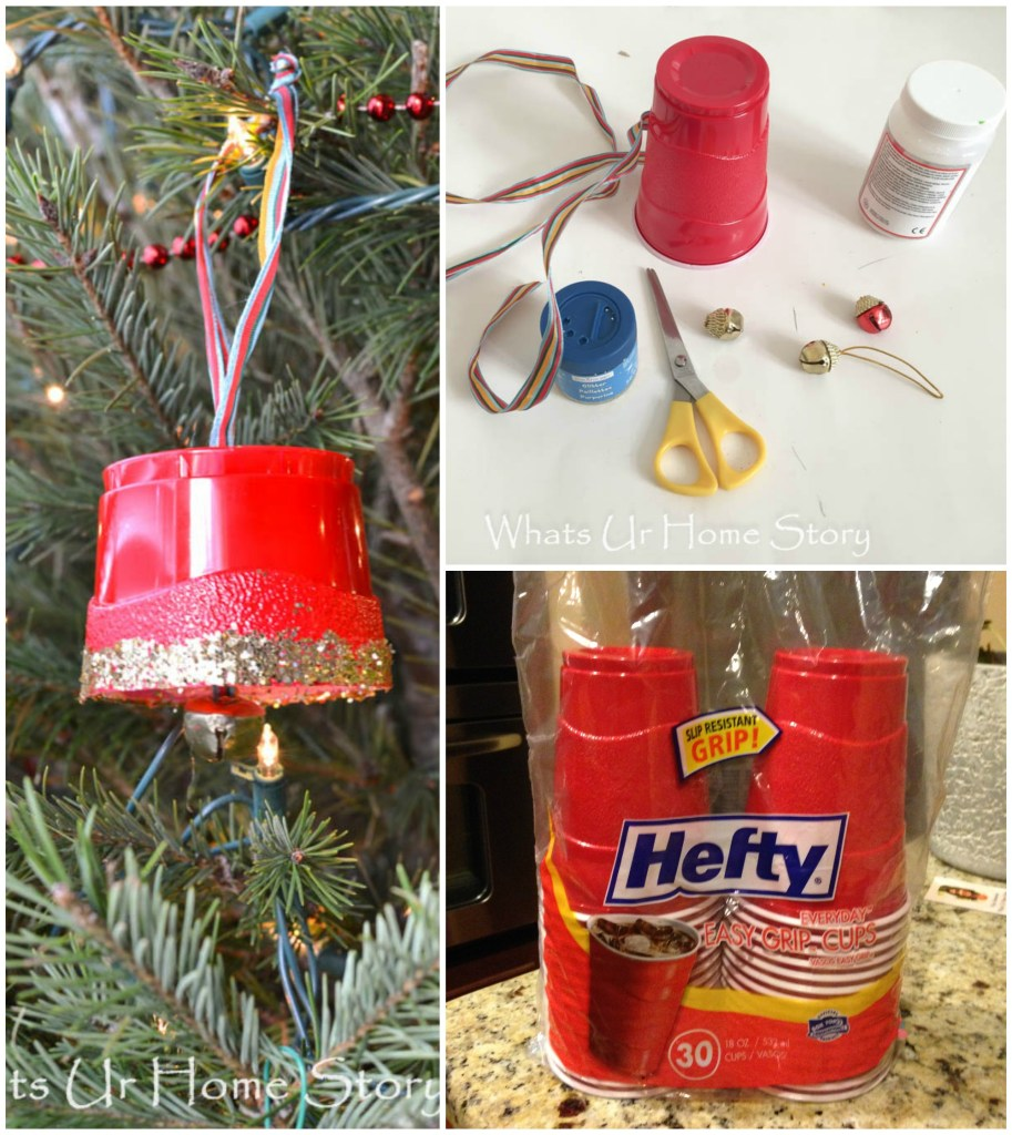 party drink cup ornament- holiday crafting with kids