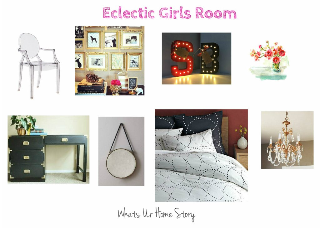 Eclectic Girls Room Mood Board; girls rooms