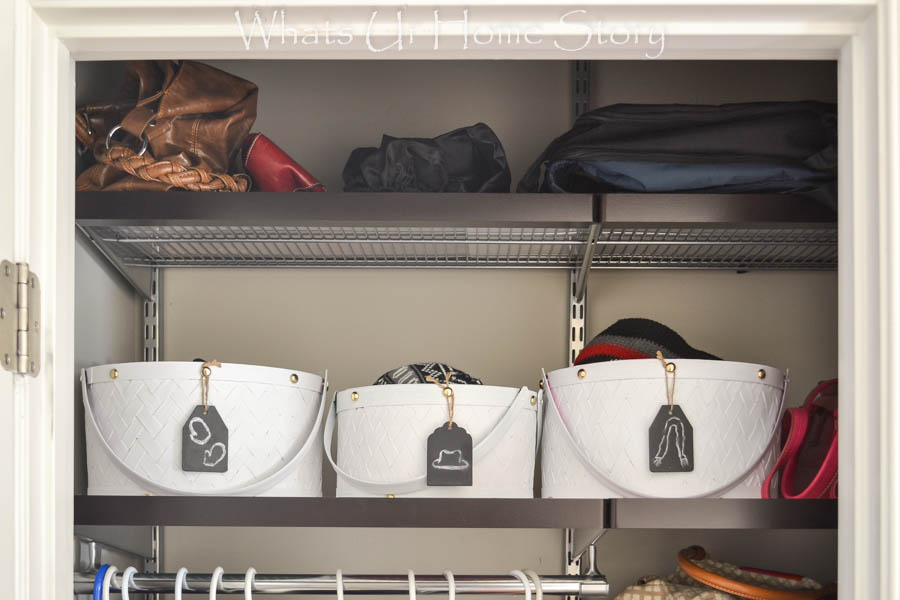 Use painted baskets for storing winter accessories