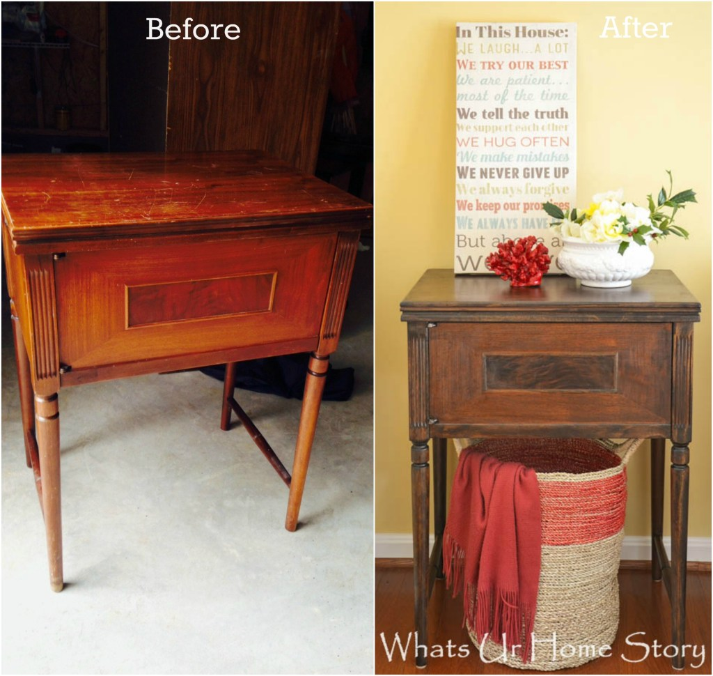 vintage sewing machine cabinet makeover