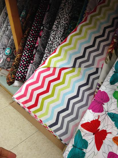 multi color chevron fabric
