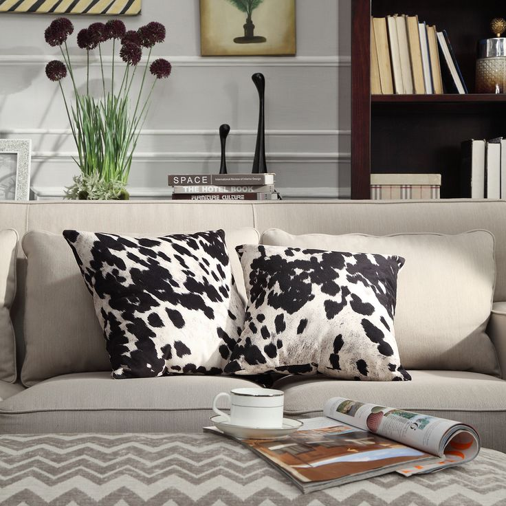 faux cow hide throw pillow