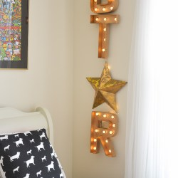 Hollywood galm girls room with DIY STAR Marquee sign