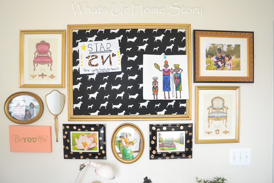 eclectic girls room gallery wall