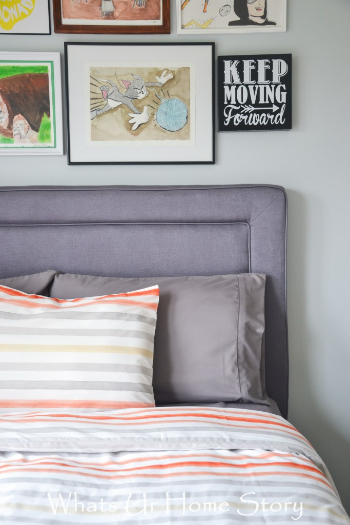 Boys room decorating in a neutral cool color pallette
