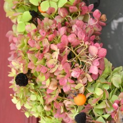 Simple Fall wreath with dried Hydrangeas and seed pods from the yard -Hydrangea wreath