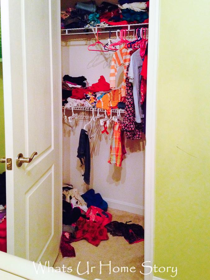 tiny girls room closet before