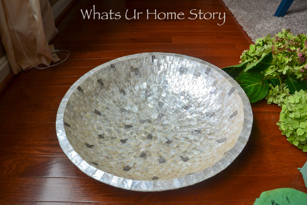 Make a Rustic centeroiece with Hydrangeas and Mini Gourds Centerpiece in a Capiz bowl
